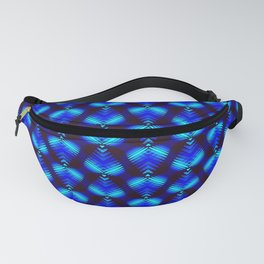 Blue diamonds from heavenly stars on dark hearts in a bright intersection. Fanny Pack