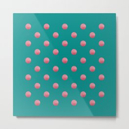 PREPPY teal green background with bubblegum pink polka dots Metal Print