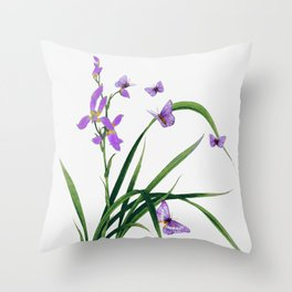 Butterflies and flowers Throw Pillow