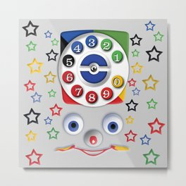 Classic Retro vintage Smiley Toys Dial Phone Metal Print