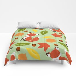 Fox Jumble - Sea Foam Comforters