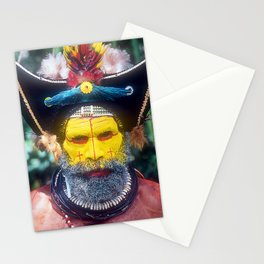"Papua New Guinea ""Yellow Face"" Villager At Sing Sing Stationery Cards"