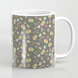Retro Bohemian Flower Pattern on Gray Coffee Mug