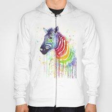 Zebra Watercolor Rainbow Animal Painting Ode to Fruit Stripes Hoody