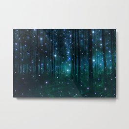 Glowing Space Woods Metal Print