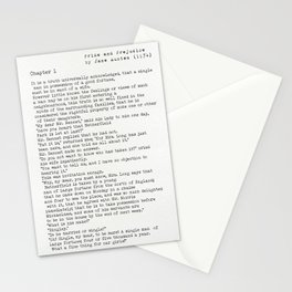 Jane Austen Pride and Prejudice Chapter 1 (public domain books) Stationery Cards