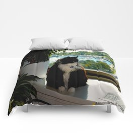 Contemplating Cat (Gracie Queen of Chicago Collection) Comforters