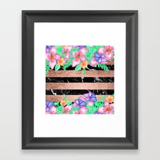 Watercolor tropical floral rose gold marble stripes  Framed Art Print