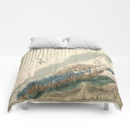1854 Comparative Lengths of Rivers and Heights of Mountains Comforters
