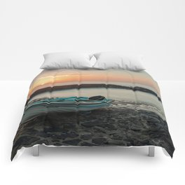 Sunset in the dock Comforters