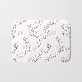 Pink watercolor magnolia pattern Bath Mat