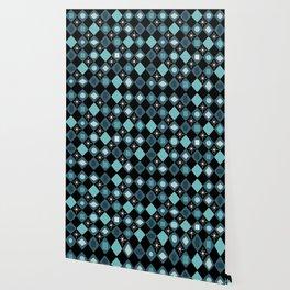 Mid Century Modern Black & Turquoise Diamonds Wallpaper