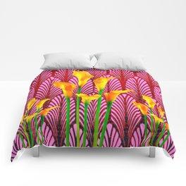 GOLDEN CALLA LILIES & RED ART DECO ART Comforters