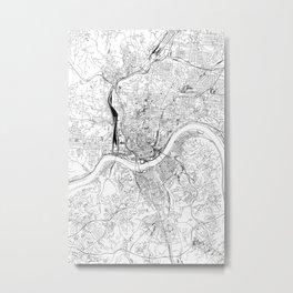 Cincinnati White Map Metal Print