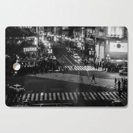 Shibuyacrossing at night - monochrome Cutting Board