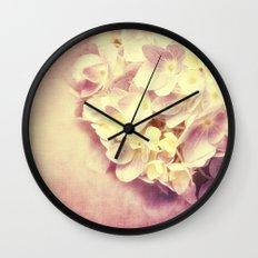 HYDRANGEA IN VANILLA AND PINK Wall Clock