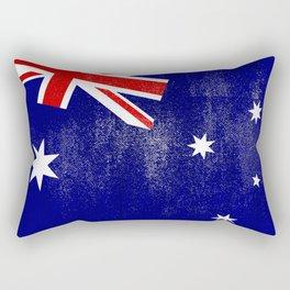 Australian Distressed Halftone Denim Flag Rectangular Pillow