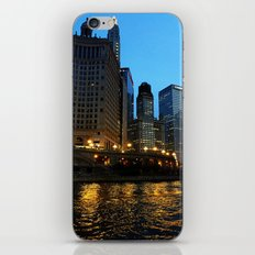 Chicago River and Buildings at Dusk Color Photo iPhone & iPod Skin