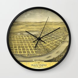 Bird's Eye View of Saint Cloud, Minnesota (1869) Wall Clock