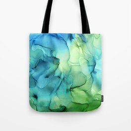 Blue Green Spring Marble Abstract Ink Painting Tote Bag