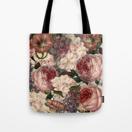 Vintage & Shabby Chic Pink Dark Floral Roses Lilacs Flowers Watercolor Pattern Tote Bag