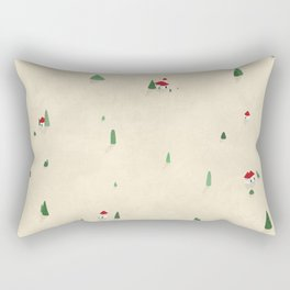Tiny Red Houses in a Landscape Rectangular Pillow