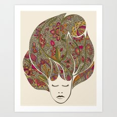 Dreaming with flowers Art Print