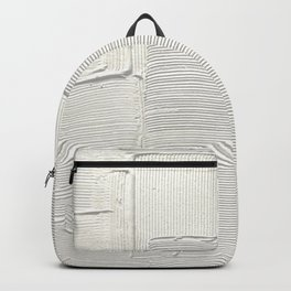 Relief [2]: an abstract, textured piece in white by Alyssa Hamilton Art Backpack