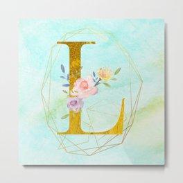 Gold Foil Alphabet Letter L Initials Monogram Frame with a Gold Geometric Wreath Metal Print