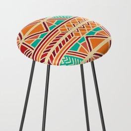 Tribal ethnic geometric pattern 027 Counter Stool