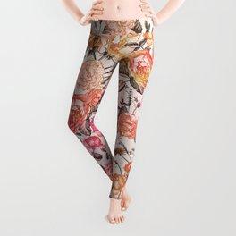 Vintage Floral Watercolor Pattern Leggings