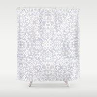 Makai Geo White Shower Curtain