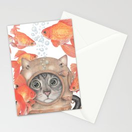 Scuba Cat Among the Fishes Stationery Cards