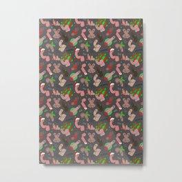 Merry Dickmas, Grey Pattern Metal Print