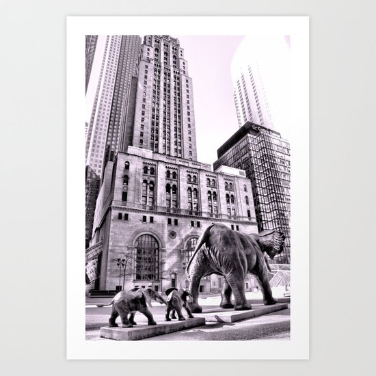 Jungle animals take over the city Art Print
