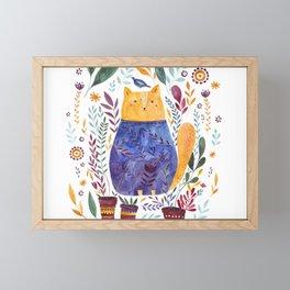 Watercolor cat Framed Mini Art Print