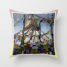 NEPALI PRAYERS CARRIED BY THE WIND FROM FLAGS Throw Pillow