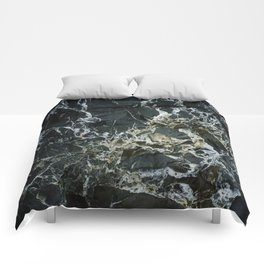 BLACK MARBLE ROCK WITH QUARTZ Comforters