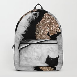 Gray Black White Agate with Gold Glitter #1 #gem #decor #art #society6 Backpack