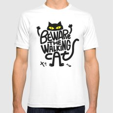 Beware the Walking Cat MEDIUM White Mens Fitted Tee