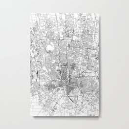 Columbus White Map Metal Print