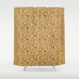 Circus of Puffins - Gold Shower Curtain