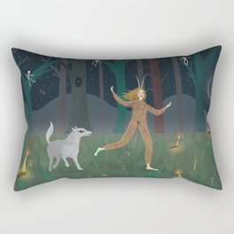 Wild Woman in the Forest Rectangular Pillow