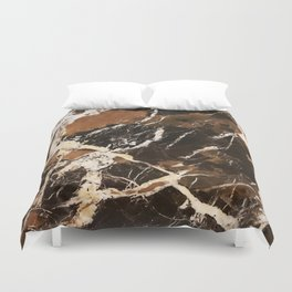 Sienna Brown and Black Marble With Creamy Veins Duvet Cover