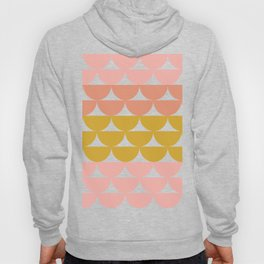 Pretty Geometric Bowls Pattern in Coral and Mustard Hoody