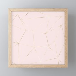 Blush pink coral gold modern geometric pattern Framed Mini Art Print