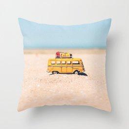 Toy car on the beach Throw Pillow