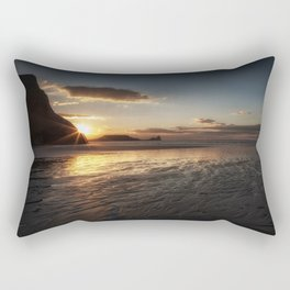 Sunset and wet sand at Worms Head Rectangular Pillow