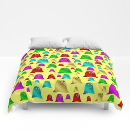 yellow,funny, ghosts, ghost, halloween, glossy, gold, happy, face, sad, copper Comforters