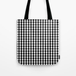 Classic Black & White Gingham Check Pattern Tote Bag